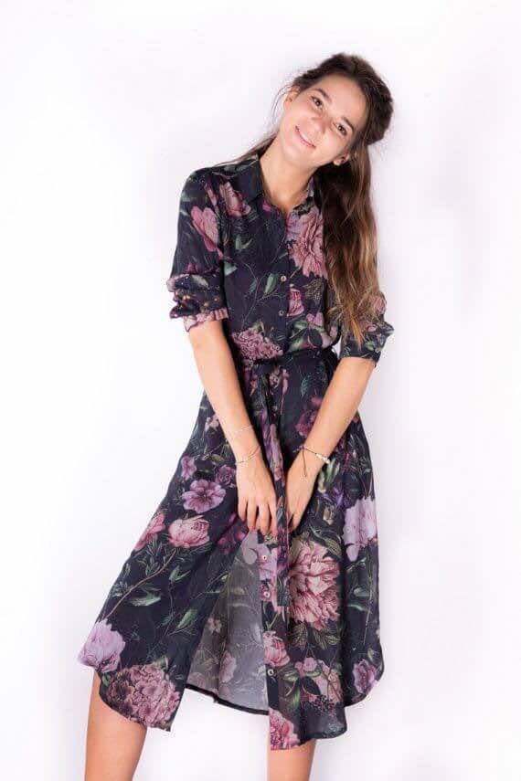 Sukienka koszulowa PIWONIE