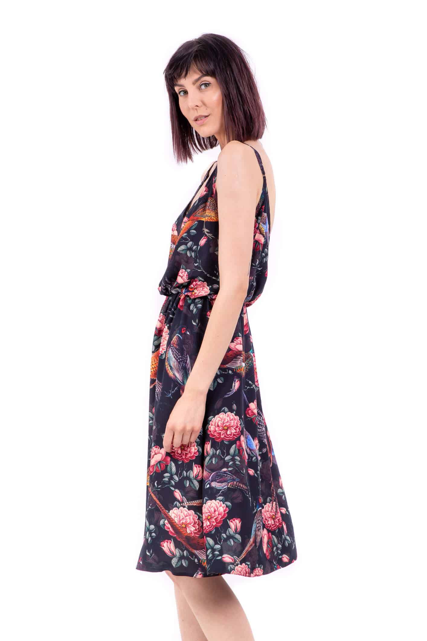 letnia sukienka czarne bażanty