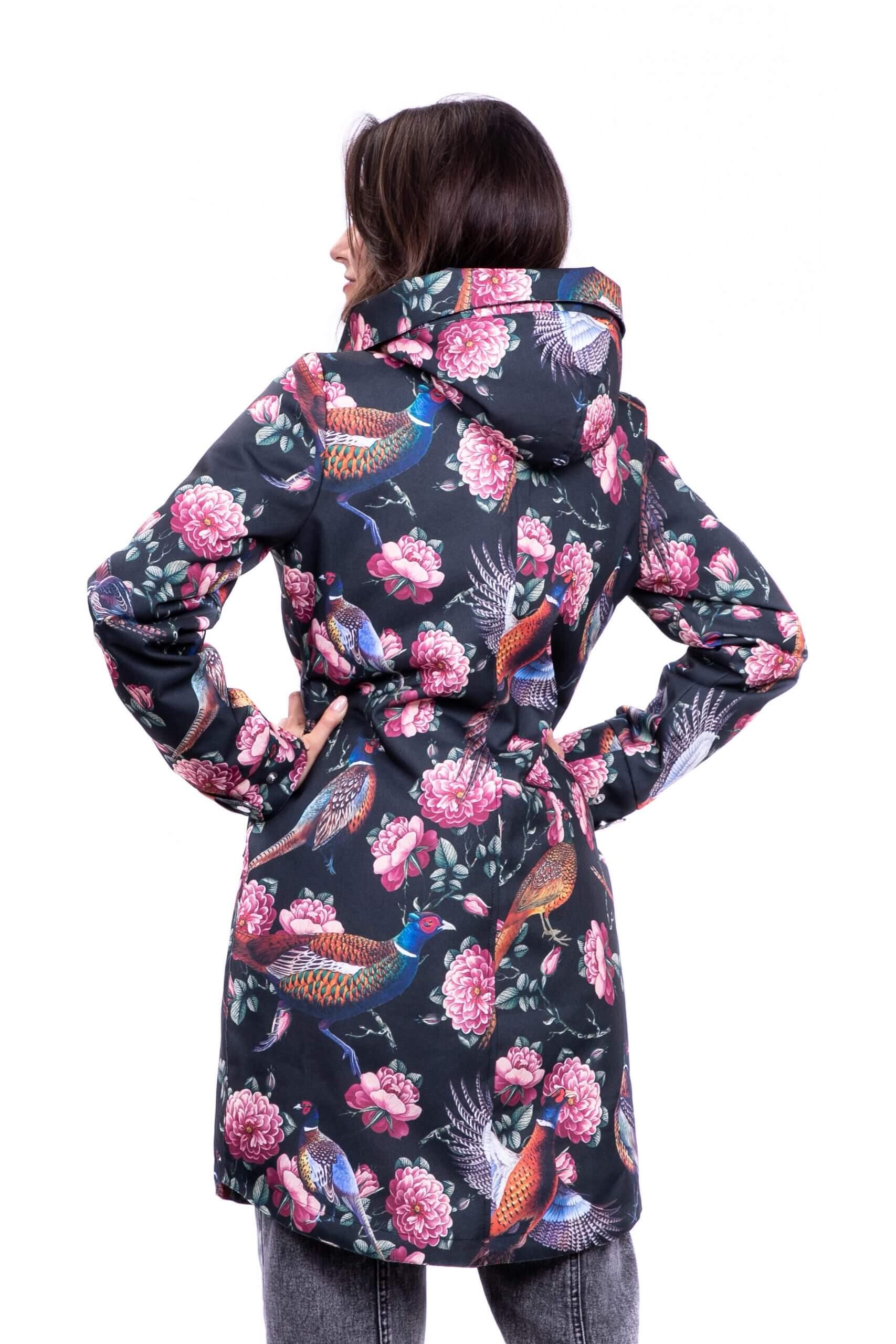 kurtka zimowa damska czarne bażanty